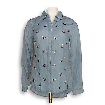 C. Wonder Women's Top Zero Embellished Button Front Blue A283060
