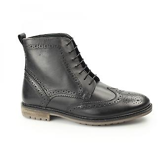 Silver Street London Gerrard Mens Leather Brogue Derby Boots Black