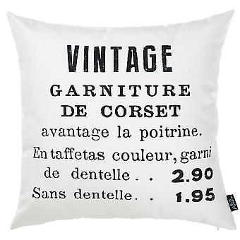 Black and White French Vintage Decorative Throw Pillow Cover