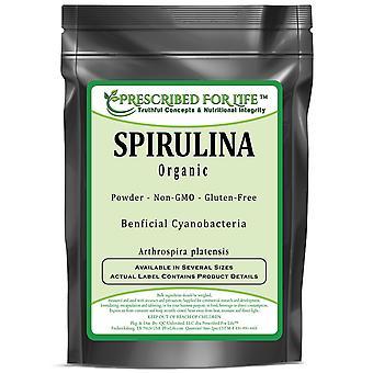 Espirulina - Ciaanobacterium orgânico ou pó azul-verde das algas (platensis do Artthrospira)