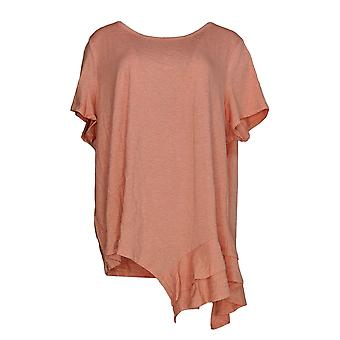 Anybody Women's Plus Top Cozy Knit Side Ruffle Tee Pink A354722