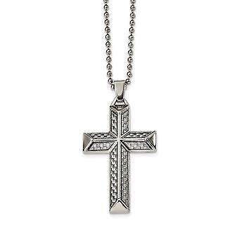 Stainless Steel Engravable Polished With Carbon Fiber Inlay Religious Faith Cross Necklace 24 Inch Jewelry Gifts for Wom