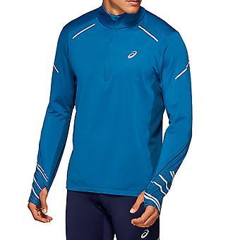 Asics Liteshow 2 Mens Winter Hi-Vis 1/2 Zip Running Fitness Jacket Top Blue