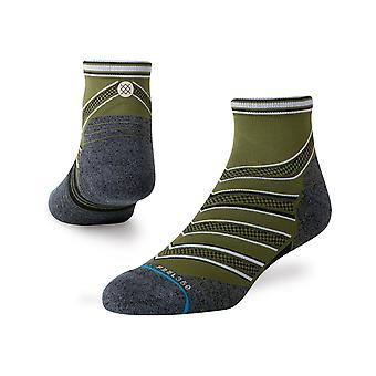 Stance Conflicted Qtr Ankle Socks in Green