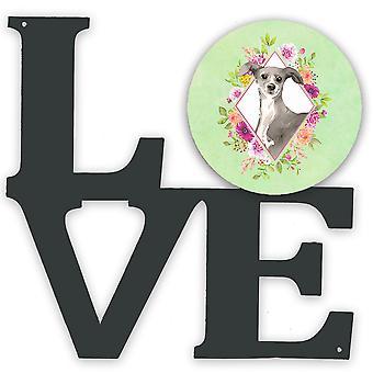Italian Greyhound Green Flowers Metal Wall Artwork LOVE