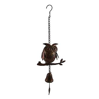 Decorative Metal Owl Mottled Finish Wind Chime Sculpture