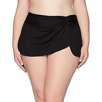 Anne Cole Women's Plus-Size Sarong Skirted Bikini Swim Bottom,, Black, Size 22W