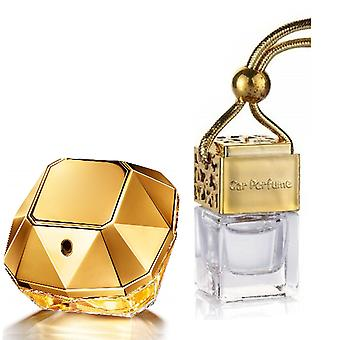 Paco Rabanne Lady Million For Her Inspired Fragrance 8ml Gold Lid Bottle Hanging Car Vehicle Auto Air Freshener