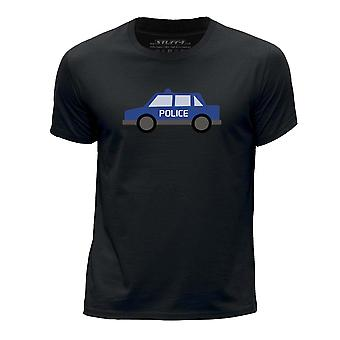STUFF4 Boy's Round Neck T-Shirt/Police Car/Black