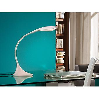 Schuller Swan - LED desk table lamp. Made of glossy white plastic material. Flexible arm. Intensity adjustable by tactile switch. Plug type G (UK). 5,5W LED. 550 lm. 4.000K. - 549221UK
