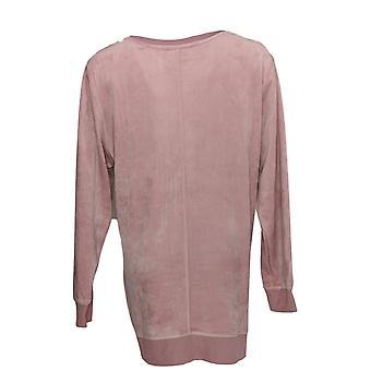 Denim & Co. Women's Top Velour Pullover W/ Rib Trim Light Pink A346271