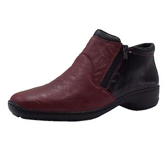 Rieker 58393-35 Ottawa Comfortable Roomy Fit Ankle Boots In Wine