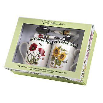 Tasse de jardin botanique et tasse à café ensemble, coquelicot et tournesol