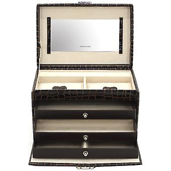 Friedrich leather jewelry case jewelry box JOLIE Brown Castle mirror