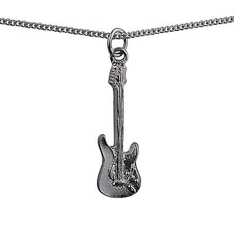 Silver 30x10mm Guitar Pendant with a curb Chain 24 inches