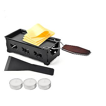 Fashionable Mini Stainless Steel Fondue Set - Cheese Raclette With Candle And Spatula