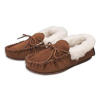 Nordvek Womens Sheepskin Slippers - Wool Lined Sheepskin Moccasins - Non-Slip Hard Sole # 417-100