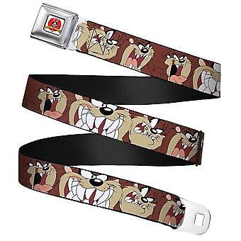 Looney Tunes Tasmanian Devil Expressions Brown Webbing Seatbelt Buckle Belt