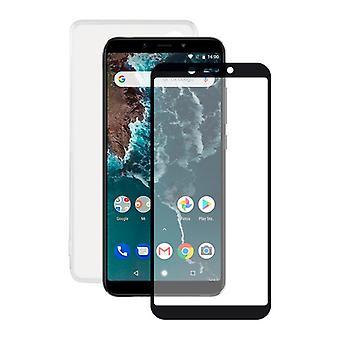 Gehärtetes Glas Mobile Screen Protector + Mobile Case Xiaomi Mi A2 Kontakt