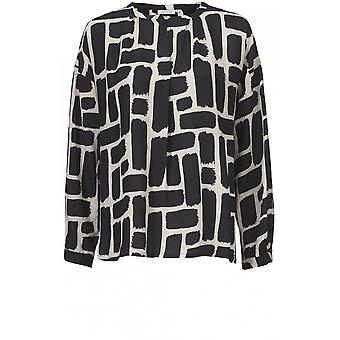 Masai Clothing Dana Black & Cream Bold Print Top
