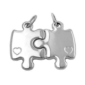 Ciondolo Pendente argento amicizia PUZZLE 2 cuori divisibile argento 925