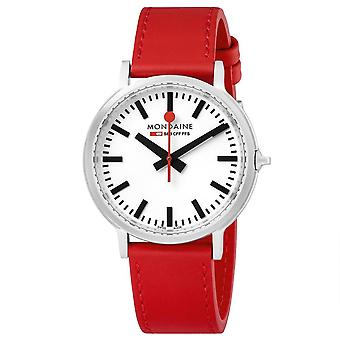 Mondaine stop2go Backlight Red Leather Strap Ladies Watch MST.4101B.LC 41mm