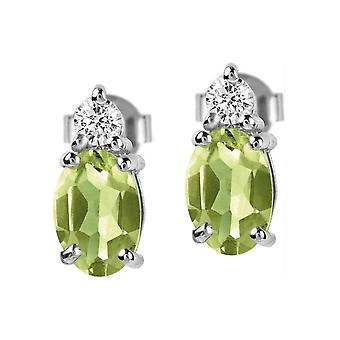 Jacques Lemans - Sterling Silver Studs with Peridot - SE-O113B