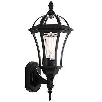 Traditional Matt Black Exterior Lantern Wall Light Fitting with Bevelled Glass