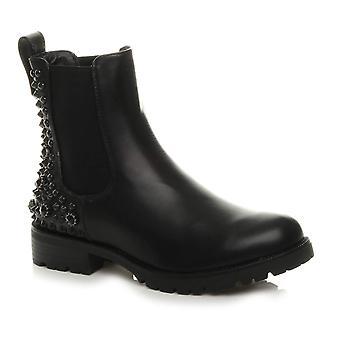 Ajvani womens low block heel diamante studded gusset chelsea boots