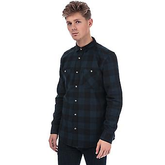 Heren's Timberland Long Sleeve Buffalo Check Flannel Shirt in Blauw