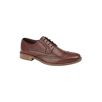 Lambretta Levi Mens Leather Lace Up Brogue Shoes Oxblood