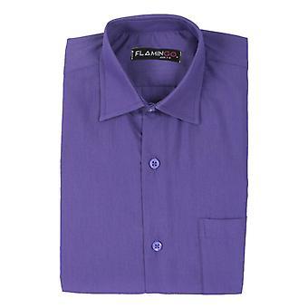 Boys Cotton Formal Purple Camicia