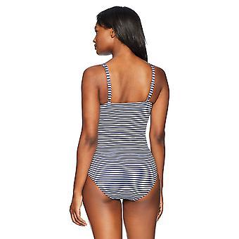 Coastal Blue Women's One Piece Swimsuit, New Navy/White Stripe,, Blue, Size 12.0