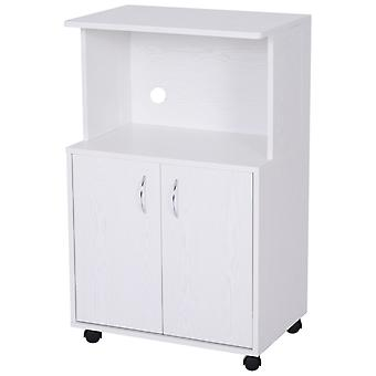 HOMCOM Rolling Kitchen Trolley Microwave Cart 2-Door Cabinet Storage Shelves w/ Wheels White