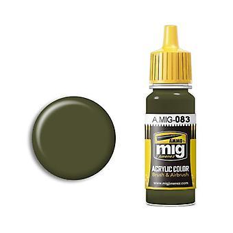 Ammo by Mig Acrylic Paint - A.MIG-0083 Zashchitniy Zeleno (Russian Postwar Green) (17ml)
