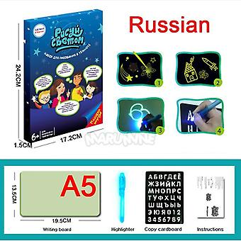 A3 A4 A5 Magic Luminous Drawing Board Draw With Light / Fun Sketchpad Board Fluorescent Pen- Russian English Light Up Draw Toys