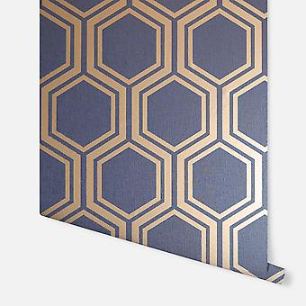 906604 - Luxe Hexagon Navy Gold - Arthouse Bakgrund