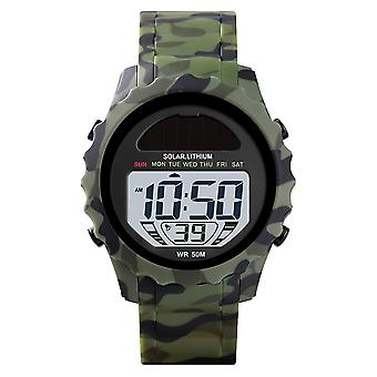 Skmei Large Display Dual Time Digital And Analogue Watch Stopwatch Alarm Light Rubber Strap