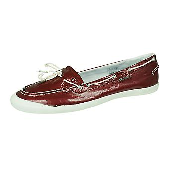 Tretorn Sunniva Patent Womens Leather Deck / Boat Shoes - Dark Red