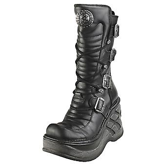 Nieuwe Rock Wedge Buckle Lace en Zip Womens Wedge Boots in Zwart