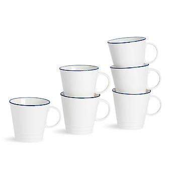 Nicola Spring 6 Piece Country Farmhouse White Tea Cup Set s modrými ráfky - 250ml