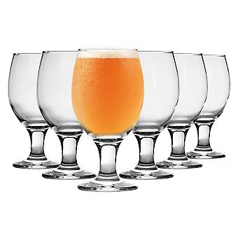 Rink Drink 6 Piece Stemmed Craft Beer Glasses Set - Tulip Style Glass for Real Ale and IPA - 400ml