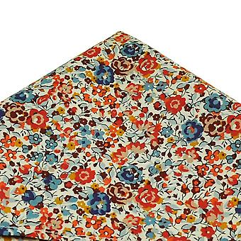 Ties Planet Van Buck Ivory, Blue & Orange Pocket Square Made With Liberty Fabric