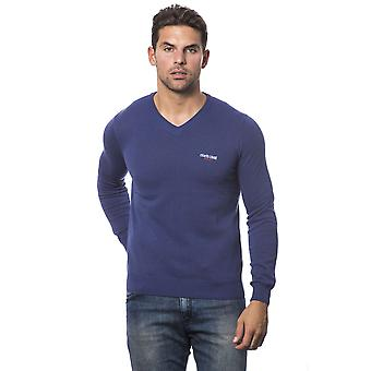 Roberto Cavalli Sport Denim Blue V-Neck Long Sleeve Sweats