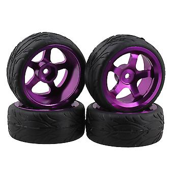 4 x Purple Wheel Rim+Fish Scale Rubber Tyre for RC On Road Car