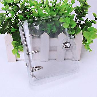 Mini Pvc Transparent Smooth Notebook Cover Binder With 3 Holes (20x10.5cm)