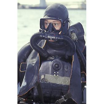 Военно-морского флота ПЕЧАТЬ боевой пловец носить замкнутый контур ребризером Плакат Печать