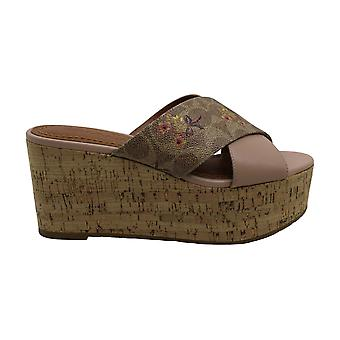 Coach Womens cross wedge Fabric Open Toe Wedge Pumps