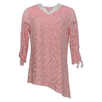 Susan Graver Kvinder's Top Stretch Lace Asymmetrisk Hem Pink A376578