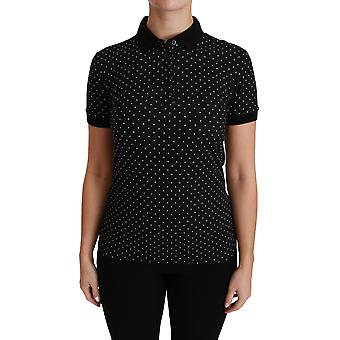 Black dotted collared polo shirt cotton top